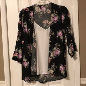 Forever 21 black multi floral shrug